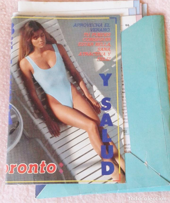 CARPETA CON FICHAS DE SALUD Y BELLEZA. REVISTA PRONTO. AÑOS 80 (Papel - Revistas y Periódicos Modernos (a partir de 1.940) - Revista Pronto)
