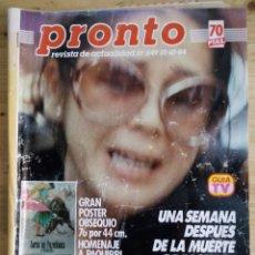 Coleccionismo de Revista Pronto: PRONTO Nº 649 - OCTUBRE 1984 - SIGUE EL DOLOR DE ISABEL PANTOJA - NO INCLUYE POSTER. Lote 143260894