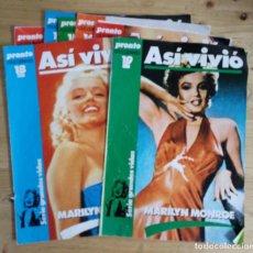 Coleccionismo de Revista Pronto: LOTE DE 7 PRONTO COLECCIONABLE - ASI VIVIO - MARILYN MONROE - FOTOS ADICONALES DE CADA UNO. Lote 143263682