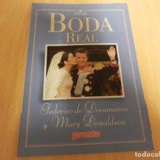 Coleccionismo de Revista Pronto: LA BODA REAL. FEDERICO DE DINAMARCA & MARY DONALDSON. REVISTA PRONTO. SUPLEMENTO ESPECIAL. Lote 147226514