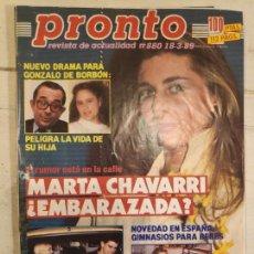 Coleccionismo de Revista Pronto: REVISTA PRONTO. Nº 880. 18/3/89.MARTA CHAVARRI ¿EMBARAZADA?. Lote 147526906
