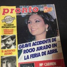 Coleccionismo de Revista Pronto: PRONTO 5/85 SERIE V PALOMA SAN BASILIO EUROVISION MADONNA AMPARO MUÑOZ DAVID SOUL LADY DIANA REAGAN. Lote 151060734