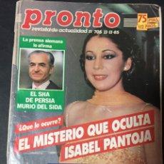 Coleccionismo de Revista Pronto: PRONTO 11/85 UN DOS TRES RESPONDA OTRA VEZ ISABEL Y AGUSTIN PANTOJA MADONNA RETORNO A EDEN . Lote 151133738