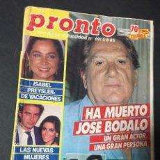 Coleccionismo de Revista Pronto: PRONTO 8/85 ISABEL Y ELVIS PRESLEY CONNIE SELLECA BERTIN OSBORNE AMPARO MUÑOZ ORQUESTA MONDRAGON. Lote 151181998