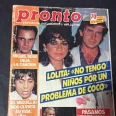 Coleccionismo de Revista Pronto: PRONTO 7/85 MIGUEL BOSE LOLITA MECANO SERIE V EL VAQUILLA MICK JAGGER JORGE CASTRO GRETA GARBO. Lote 151453570