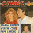 Coleccionismo de Revista Pronto: PRONTO Nº 729 MARIA JIMENEZ PEPE SANCHO RAFAELA APARICIO GARY COOPER VICTORIA SELLERS EL CORDOBES. Lote 160621514