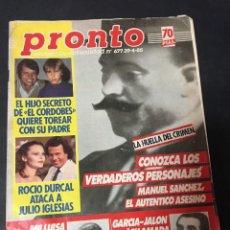 Coleccionismo de Revista Pronto: PRONTO 4/85 VICTORIA ABRIL ROCIO DURCAL EVA NASARRE CORDOBES TANIA DORIS FAMA RICHARD BURTON. Lote 171469109
