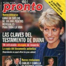 Coleccionismo de Revista Pronto: REVISTA PRONTO Nº 1349 LADY DIANA SPENCER -BELEN RUEDA - CARLOS / CAMILLA MARZO 1998 BUEN ESTADO. Lote 171777998