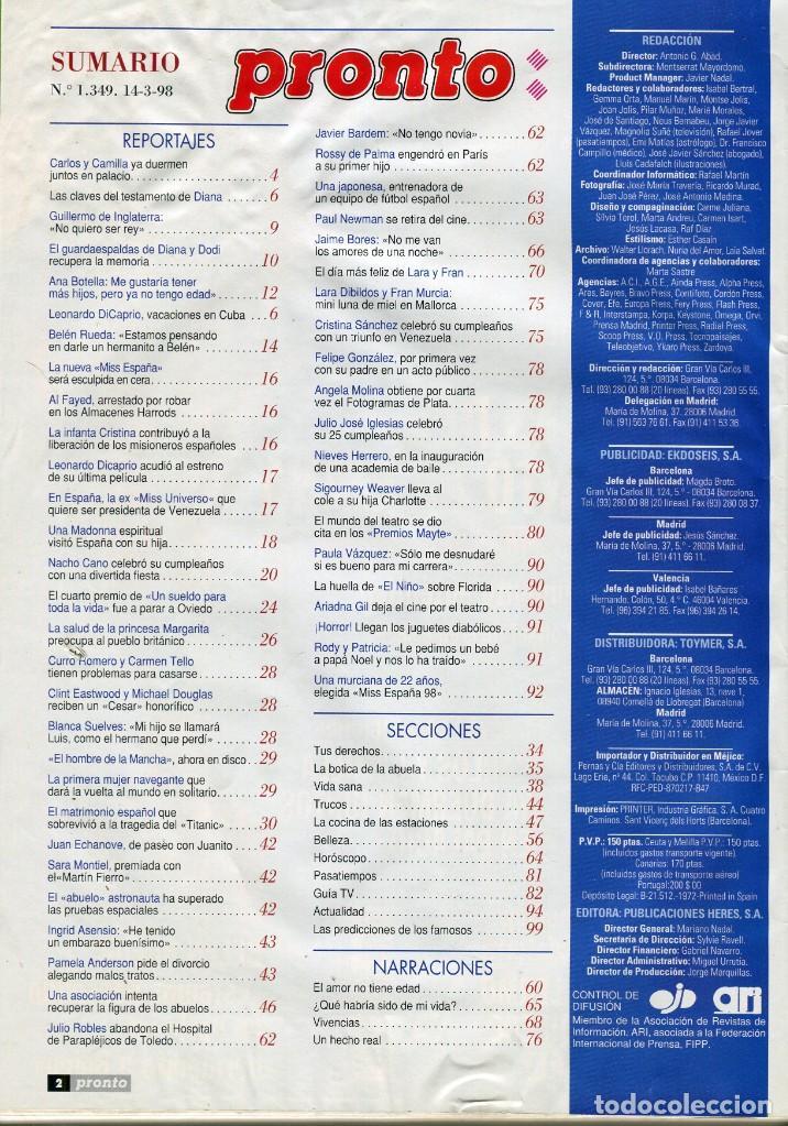 Coleccionismo de Revista Pronto: REVISTA PRONTO Nº 1349 LADY DIANA SPENCER -BELEN RUEDA - CARLOS / CAMILLA MARZO 1998 BUEN ESTADO - Foto 2 - 171777998