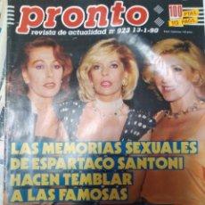 Coleccionismo de Revista Pronto: REVISTA PRONTO 923 BÁRBARA REY, EL PERA Y MASSIEL 1990. Lote 173894104