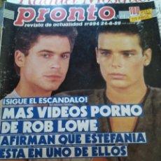 Coleccionismo de Revista Pronto: REVISTA PRONTO 894 ROB LOWE Y SABRINA SALERNO 1989. Lote 174123625