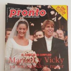 Coleccionismo de Revista Pronto: REVISTA PRONTO. Nº 1330. 01/11/1997. MANUEL Y VICKY MARTIN BERROCAL YA SON MARIDO Y MUJER. TDKR64. Lote 174286772