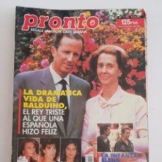 Coleccionismo de Revista Pronto: REVISTA PRONTO. Nº 1110. 14/08/93. LA DRAMATICA VIDA DE BALDUINO DE BELGICA. TDKR64. Lote 174286917