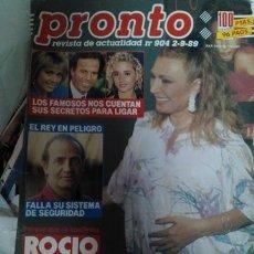 Coleccionismo de Revista Pronto: REVISTA PRONTO 904 ROCÍO JURADO, VICKY LARRAZ, MARTA SÁNCHEZ 1988. Lote 178073974