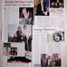 Coleccionismo de Revista Pronto: RECORTES REVISTA PRONTO MUERTE DE GEORGE HARRISON DE THE BEATLES. Lote 179147301