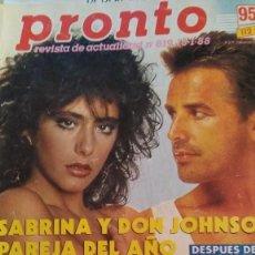 Coleccionismo de Revista Pronto: REVISTA PRONTO 819 SABRINA, JUANITA REINA AÑO 1988. Lote 183628705