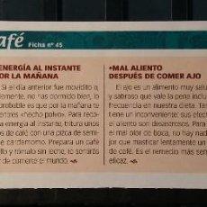 Coleccionismo de Revista Pronto: FICHA Nº 45. LOS ALIMENTOS. REMEDIOS Y TRUCOS REVISTA PRONTO. CAFÉ.. Lote 185958993