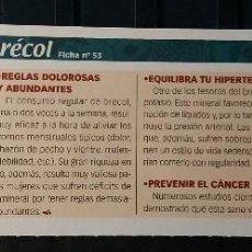 Coleccionismo de Revista Pronto: FICHA Nº 53. LOS ALIMENTOS. REMEDIOS Y TRUCOS REVISTA PRONTO. BRÉCOL.. Lote 185971676