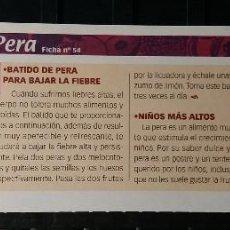 Coleccionismo de Revista Pronto: FICHA Nº 54. LOS ALIMENTOS. REMEDIOS Y TRUCOS REVISTA PRONTO. PERA.. Lote 185996792