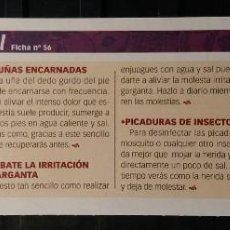 Coleccionismo de Revista Pronto: FICHA Nº 56. LOS ALIMENTOS. REMEDIOS Y TRUCOS REVISTA PRONTO. SAL.. Lote 185998617