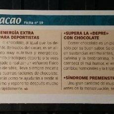 Coleccionismo de Revista Pronto: FICHA Nº 59. LOS ALIMENTOS. REMEDIOS Y TRUCOS REVISTA PRONTO. CACAO.. Lote 186013046