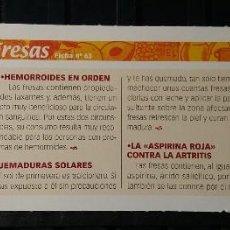 Coleccionismo de Revista Pronto: FICHA Nº 63. LOS ALIMENTOS. REMEDIOS Y TRUCOS REVISTA PRONTO. FRESAS.. Lote 186015923