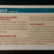 Coleccionismo de Revista Pronto: FICHA Nº 64. LOS ALIMENTOS. REMEDIOS Y TRUCOS REVISTA PRONTO. COCO.. Lote 186016660