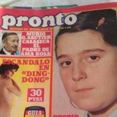 Coleccionismo de Revista Pronto: REVISTA PRONTO 416 MUERTE NIÑA CONCIERTO LOS PECOS, PARCHÍS AÑO 1980. Lote 189186091