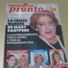Coleccionismo de Revista Pronto: PRONTO 10/92 ANDONI FERREÑO UN DOS TRES ROCIO JURADO LOLITA ISABEL PANTOJA MARY SANTPERE. Lote 189374653
