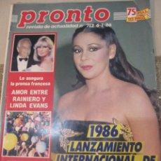 Coleccionismo de Revista Pronto: PRONTO 1/86 TINO CASAL ISABEL PANTOJA PERALES CARMEN SEVILLA EL SORO AURORA BAUTISTA LUCAS MARTIN . Lote 189375166