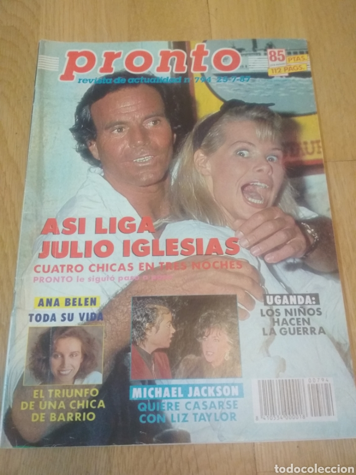 REVISTA PRONTO DE 1987 JULIO IGLESIAS, MICHAEL JACKSON, MECANO, ANA BELÉN (Papel - Revistas y Periódicos Modernos (a partir de 1.940) - Revista Pronto)