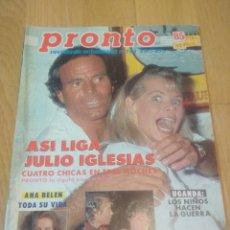 Coleccionismo de Revista Pronto: REVISTA PRONTO DE 1987 JULIO IGLESIAS, MICHAEL JACKSON, MECANO, ANA BELÉN. Lote 190382232