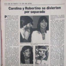 Coleccionismo de Revista Pronto: RECORTE REVISTA PRONTO Nº 531 1982 CAROLINA DE MÓNACO Y ROBERTINO. SARA MONTIEL. Lote 204975948