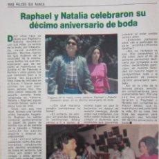 Coleccionismo de Revista Pronto: RECORTE REVISTA PRONTO Nº 531 1982 RAPHAEL Y NATALIA. Lote 204976316