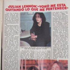 Coleccionismo de Revista Pronto: RECORTE REVISTA PRONTO Nº 511 1982 JULIAN LENNON. Lote 204977021