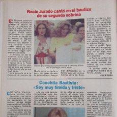 Coleccionismo de Revista Pronto: RECORTE REVISTA PRONTO Nº 534 1982 ROCIO JURADO. CONCHITA BAUTISTA. Lote 204977426