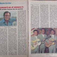 Coleccionismo de Revista Pronto: RECORTE REVISTA PRONTO Nº 534 1982 MANOLO ESCOBAR. CAPITULO 8. Lote 204977478