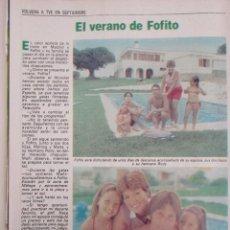 Coleccionismo de Revista Pronto: RECORTE REVISTA PRONTO Nº 534 1982 FOFITO, PAYASOS DE LA TELE. Lote 204977525