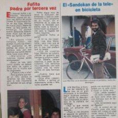 Coleccionismo de Revista Pronto: RECORTE REVISTA PRONTO Nº 549 1982 FOFITO, FERNANDO UBIERGO. Lote 204978501