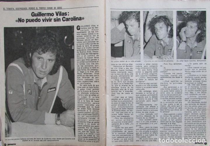 RECORTE REVISTA PRONTO Nº 545 1982 GUILLERMO VILAS HABLA DE CAROLINA DE MONACO (Papel - Revistas y Periódicos Modernos (a partir de 1.940) - Revista Pronto)