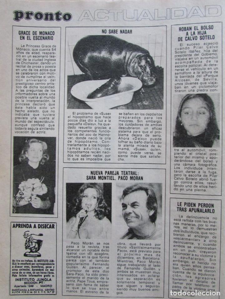 RECORTE REVISTA PRONTO Nº 517 1982 SARA MONTIEL Y PARO MORAN (Papel - Revistas y Periódicos Modernos (a partir de 1.940) - Revista Pronto)