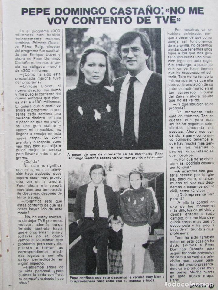 RECORTE REVISTA PRONTO Nº 517 1982 PEPE DOMINGO CASTAÑO (Papel - Revistas y Periódicos Modernos (a partir de 1.940) - Revista Pronto)