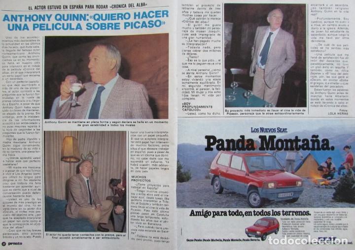 RECORTE REVISTA PRONTO Nº 517 1982 ANTHONY QUINN (Papel - Revistas y Periódicos Modernos (a partir de 1.940) - Revista Pronto)