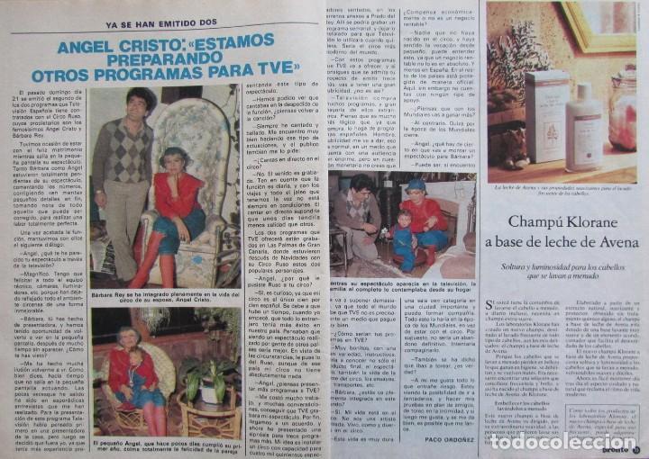 RECORTE REVISTA PRONTO Nº 517 1982 ANGEL CRISTO Y BARBARA REY (Papel - Revistas y Periódicos Modernos (a partir de 1.940) - Revista Pronto)