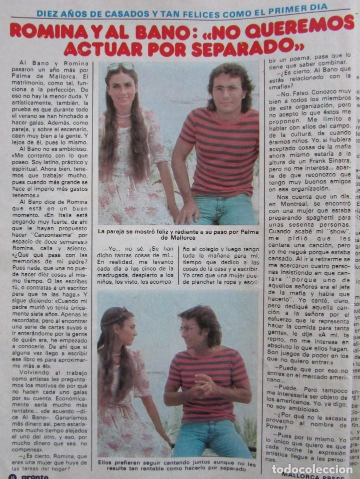 RECORTE REVISTA PRONTO Nº 517 1982 ROMINA POWER Y AL BANO (Papel - Revistas y Periódicos Modernos (a partir de 1.940) - Revista Pronto)