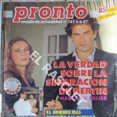 Coleccionismo de Revista Pronto: PRONTO REVISTA ACTUALIDAD - Nº 787 - AÑO 1987. Lote 208177655