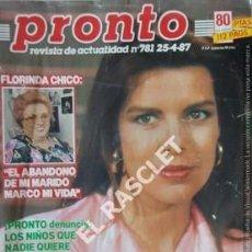 Coleccionismo de Revista Pronto: PRONTO REVISTA ACTUALIDAD - Nº 781 - AÑO 1987. Lote 208177906