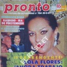 Coleccionismo de Revista Pronto: PRONTO REVISTA ACTUALIDAD - Nº 786 - AÑO 1987. Lote 208177981