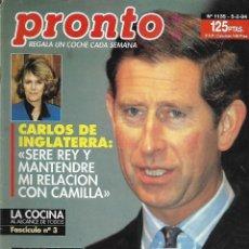 Coleccionismo de Revista Pronto: REVISTA PRONTO Nº 1135 - CARLOS DE INGLATERRA - SARA MONTIEL Y GIANCARLO VIOLA - KOJAK REV0272. Lote 211753086