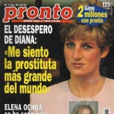 Coleccionismo de Revista Pronto: REVISTA PRONTO Nº 1173 - DIANA ME SIENTO LA PROSTITUTA MÀS GRANDE DEL MUNDO - MARTA ROBLES REV0274. Lote 211756763